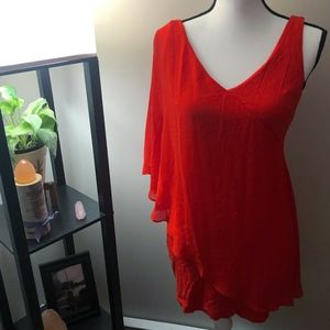 Bebe Orange One Shoulder Asymmetric Blouse